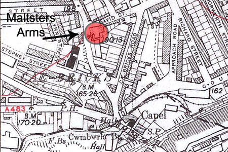 Maltsters Arms Cwmbwrla OS map 1951