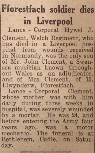 Lance - Corporal Hywel J. Clement